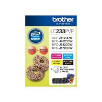 Brother LC233PVP 4 Ink Cartridge Photo Value Pack (Black/Cyan/Magenta/Yellow + Photo Paper)